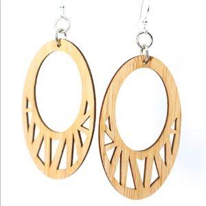 Fragmented Oval Bamboo Earrings
